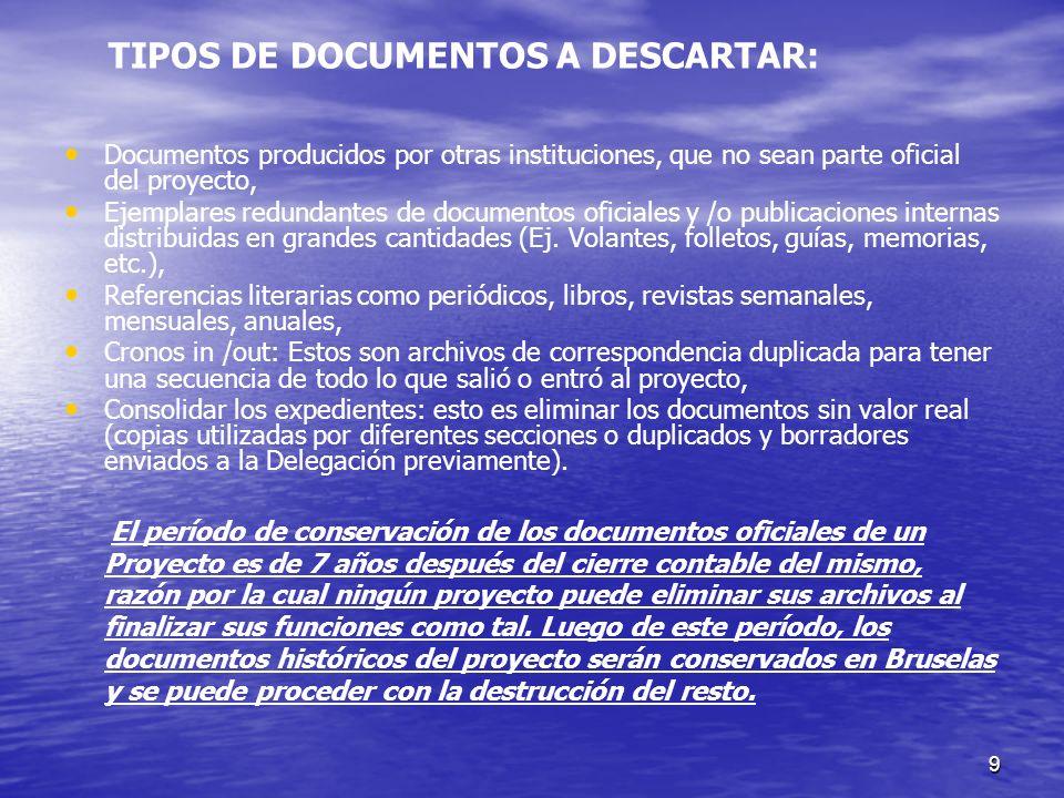 9 Documentos producidos por otras instituciones, que no sean parte oficial del proyecto, Ejemplares redundantes de documentos oficiales y /o publicaci