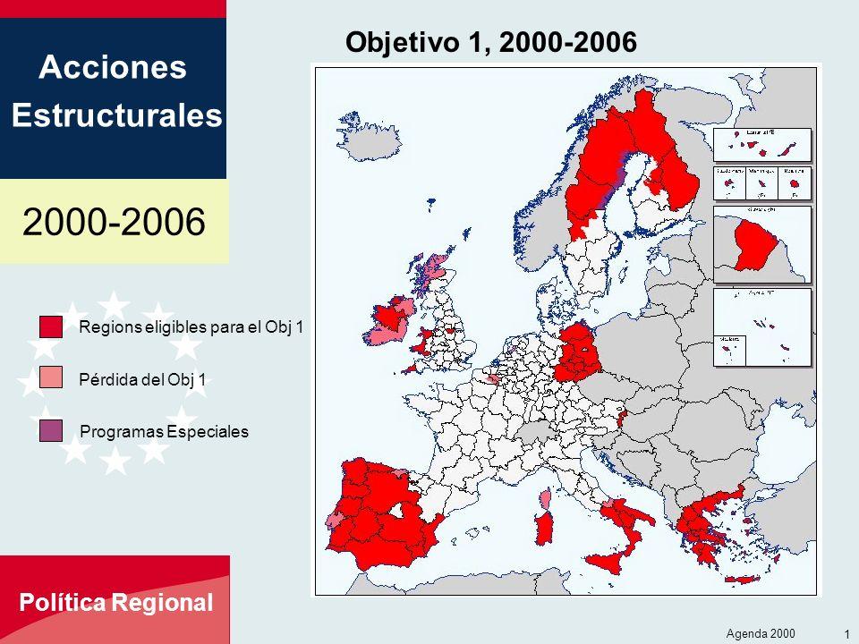 2000-2006 Acciones Estructurales Política Regional Agenda 2000 13 Objetivo 1, 2000-2006 Regions eligibles para el Obj 1 Pérdida del Obj 1 Programas Es
