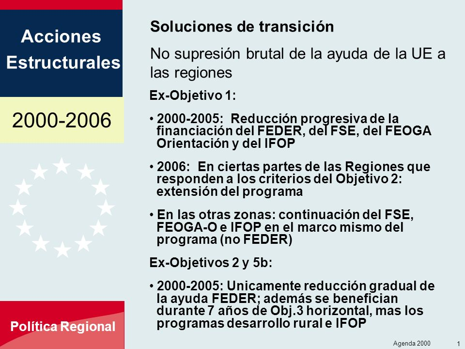 2000-2006 Acciones Estructurales Política Regional Agenda 2000 18 Soluciones de transición Ex-Objetivo 1: 2000-2005: Reducción progresiva de la financ