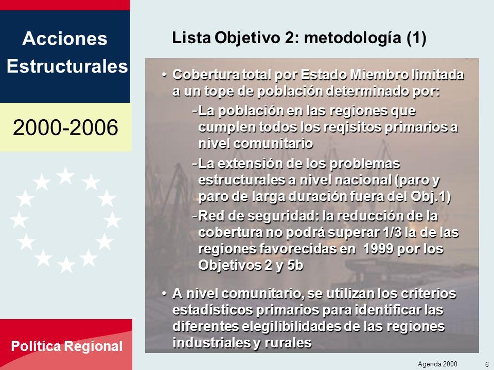 2000-2006 Acciones Estructurales Política Regional Agenda 2000 6 Lista Objetivo 2: metodología (1) Cobertura total por Estado Miembro limitada a un to