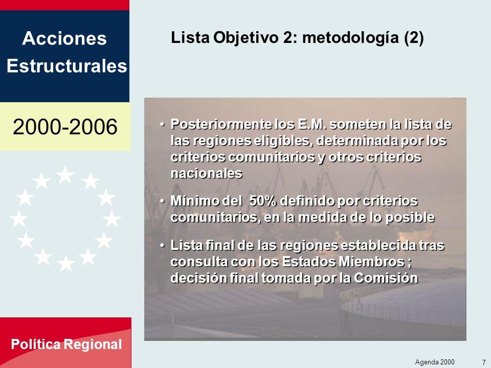 2000-2006 Acciones Estructurales Política Regional Agenda 2000 7 Lista Objetivo 2: metodología (2) Posteriormente los E.M. someten la lista de las reg