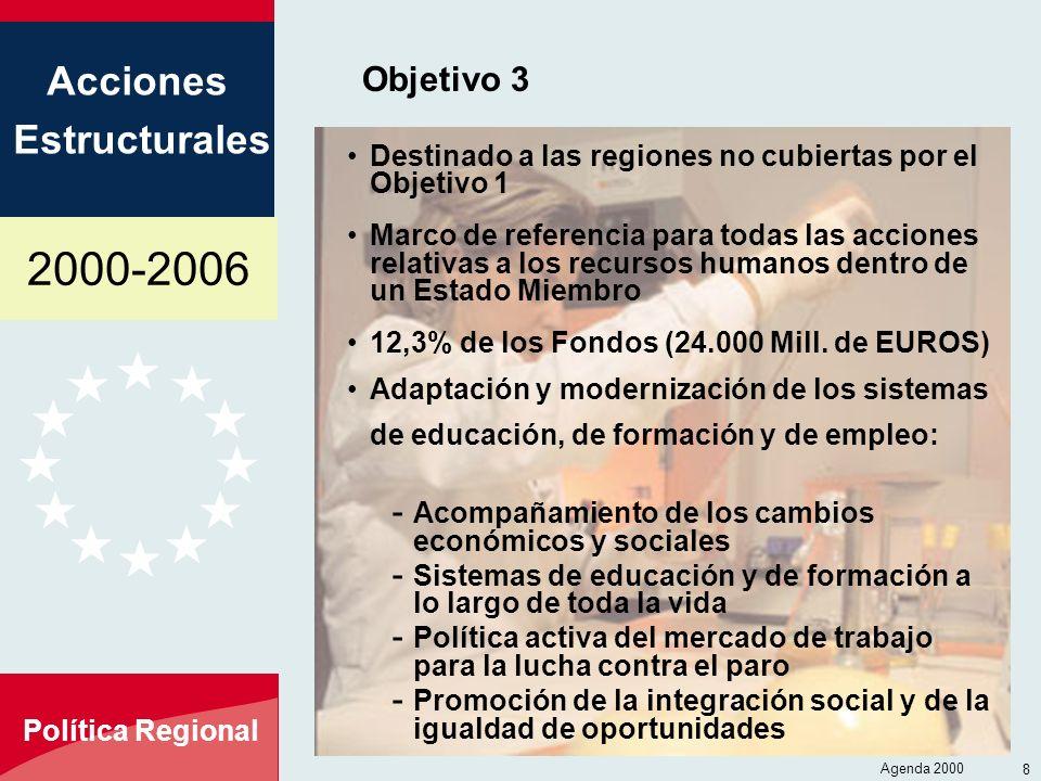 2000-2006 Acciones Estructurales Política Regional Agenda 2000 8 Objetivo 3 Destinado a las regiones no cubiertas por el Objetivo 1 Marco de referenci