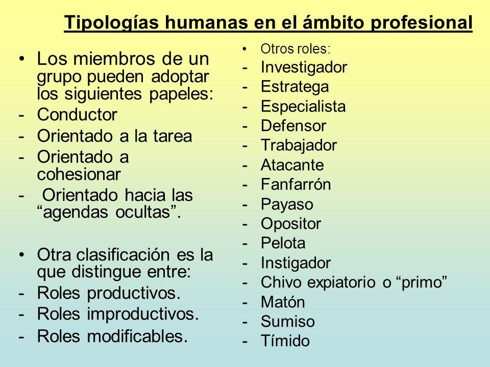 Tipologías humanas en el ámbito profesional Los miembros de un grupo pueden adoptar los siguientes papeles: -Conductor -Orientado a la tarea -Orientad