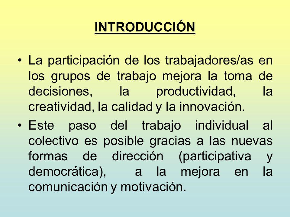 INTRODUCCIÓN La participación de los trabajadores/as en los grupos de trabajo mejora la toma de decisiones, la productividad, la creatividad, la calid
