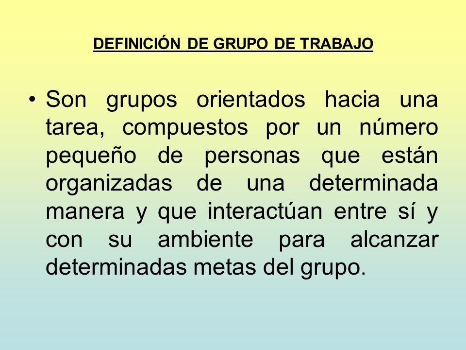 DEFINICIÓN DE GRUPO DE TRABAJO Son grupos orientados hacia una tarea, compuestos por un número pequeño de personas que están organizadas de una determ