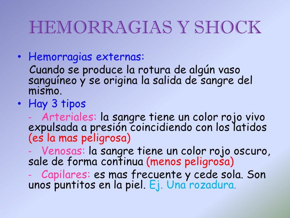 HEMORRAGIAS Y SHOCK Hemorragias externas: Cuando se produce la rotura de algún vaso sanguíneo y se origina la salida de sangre del mismo. Hay 3 tipos