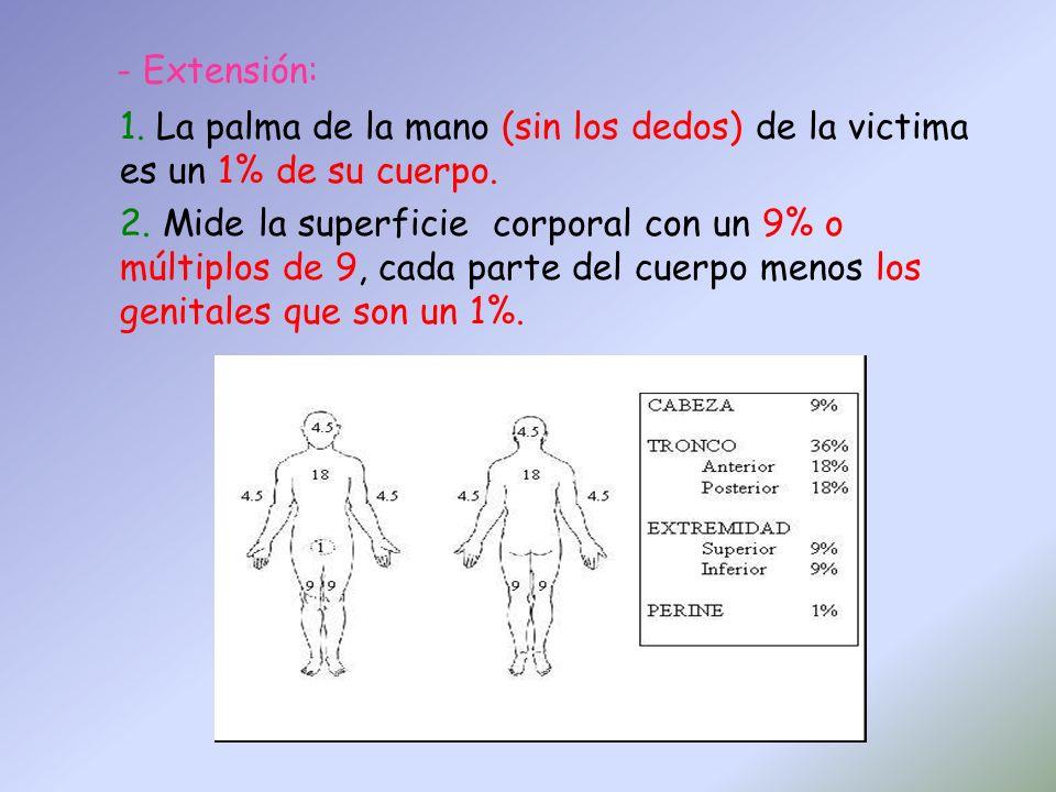 - Extensión: 1. La palma de la mano (sin los dedos) de la victima es un 1% de su cuerpo. 2. Mide la superficie corporal con un 9% o múltiplos de 9, ca