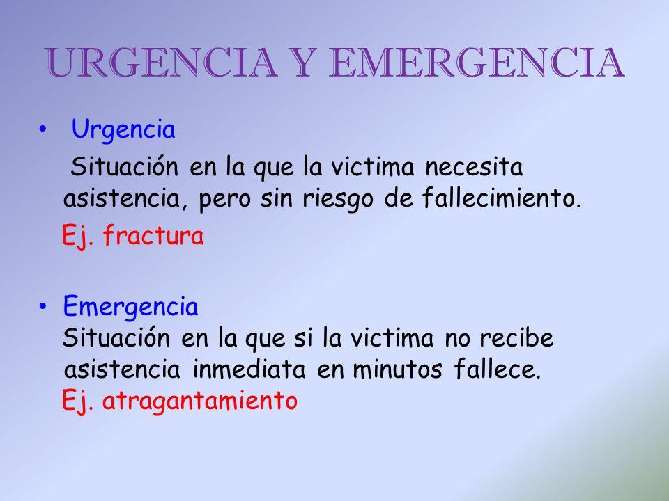 URGENCIA Y EMERGENCIA Urgencia Situación en la que la victima necesita asistencia, pero sin riesgo de fallecimiento. Ej. fractura Emergencia Situación