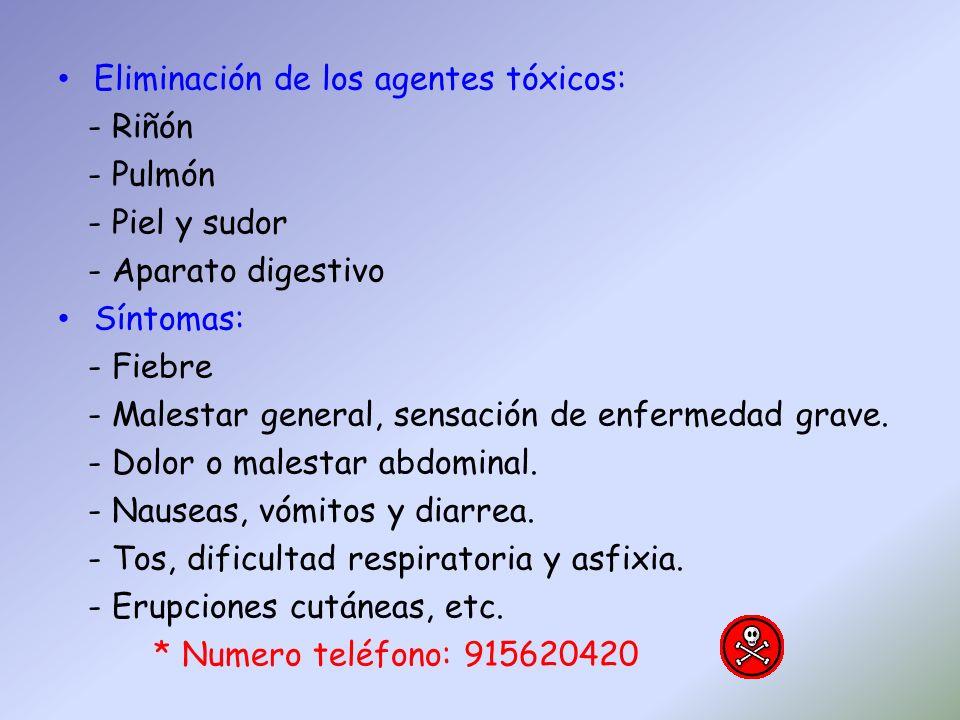 Eliminación de los agentes tóxicos: - Riñón - Pulmón - Piel y sudor - Aparato digestivo Síntomas: - Fiebre - Malestar general, sensación de enfermedad