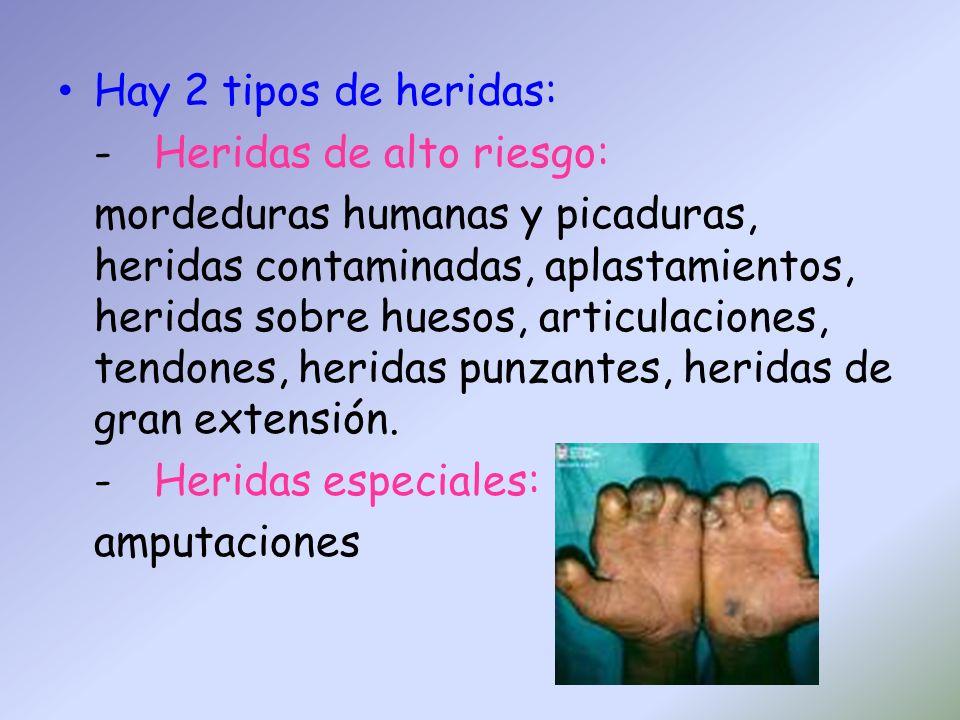 Hay 2 tipos de heridas: -Heridas de alto riesgo: mordeduras humanas y picaduras, heridas contaminadas, aplastamientos, heridas sobre huesos, articulac