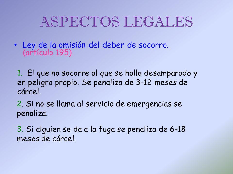 Ley de la omisión del deber de socorro. (artículo 195) ASPECTOS LEGALES 1. El que no socorre al que se halla desamparado y en peligro propio. Se penal