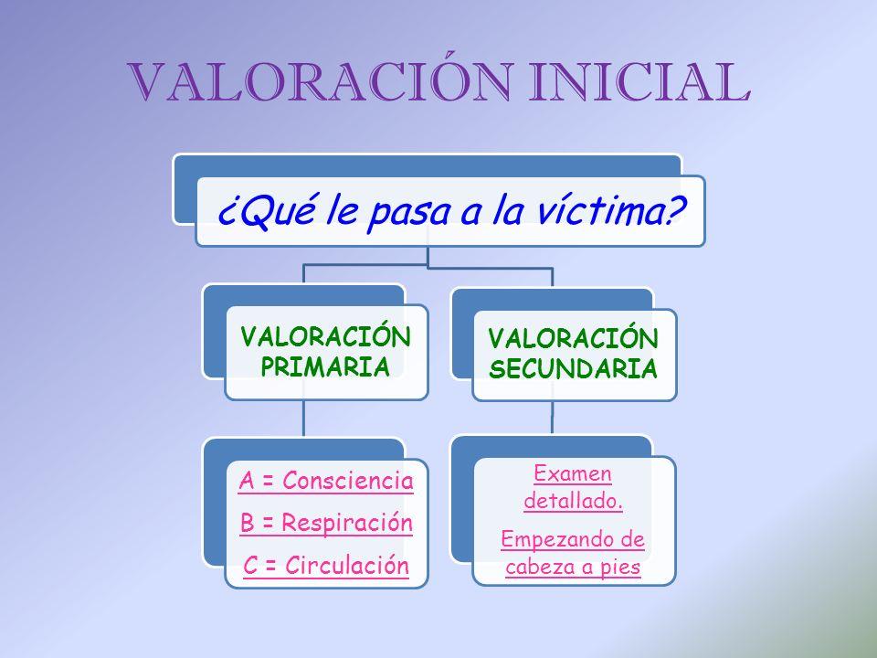 VALORACIÓN INICIAL ¿Qué le pasa a la víctima? VALORACIÓN PRIMARIA A = Consciencia B = Respiración C = Circulación VALORACIÓN SECUNDARIA Examen detalla