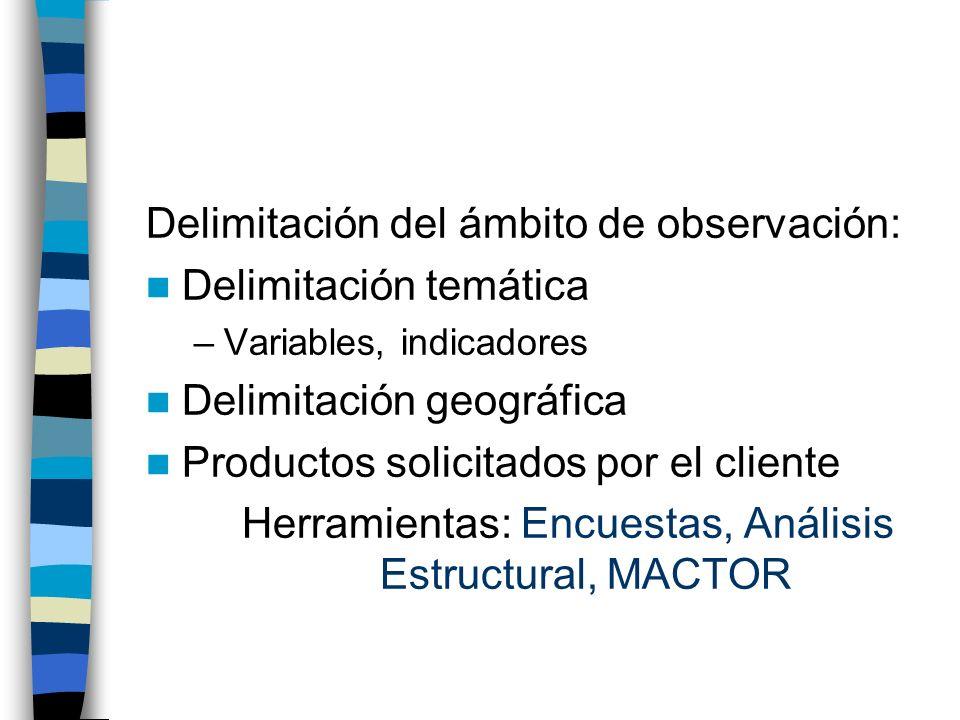 Delimitación del ámbito de observación: Delimitación temática –Variables, indicadores Delimitación geográfica Productos solicitados por el cliente Her