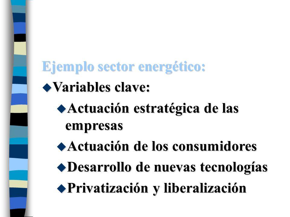 Ejemplo sector energético: u Variables clave: u Actuación estratégica de las empresas u Actuación de los consumidores u Desarrollo de nuevas tecnologí