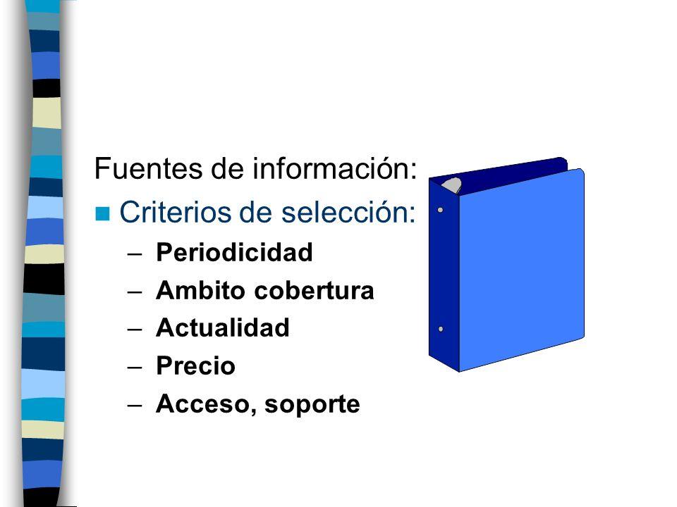 Fuentes de información: Criterios de selección: – Periodicidad – Ambito cobertura – Actualidad – Precio – Acceso, soporte