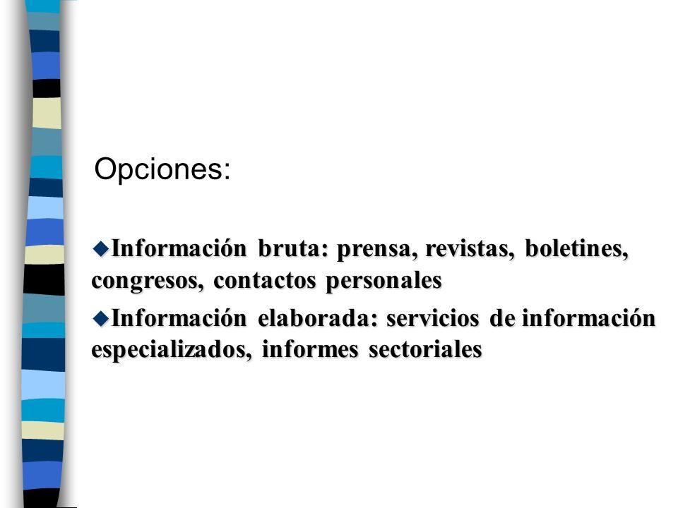 Opciones: u Información bruta: prensa, revistas, boletines, congresos, contactos personales u Información elaborada: servicios de información especial