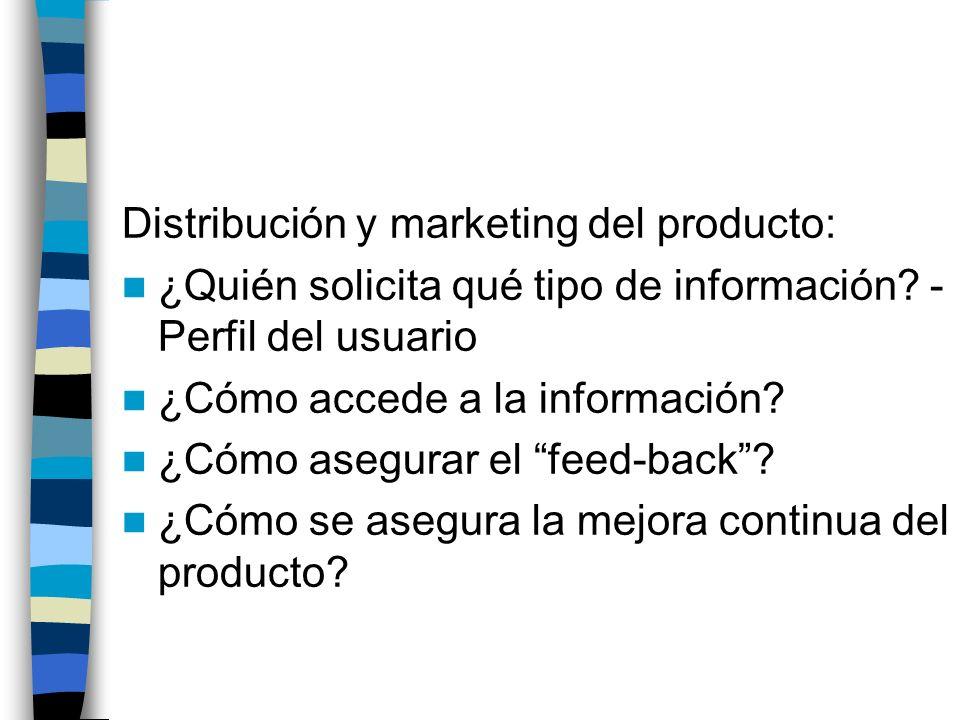 Distribución y marketing del producto: ¿Quién solicita qué tipo de información? - Perfil del usuario ¿Cómo accede a la información? ¿Cómo asegurar el