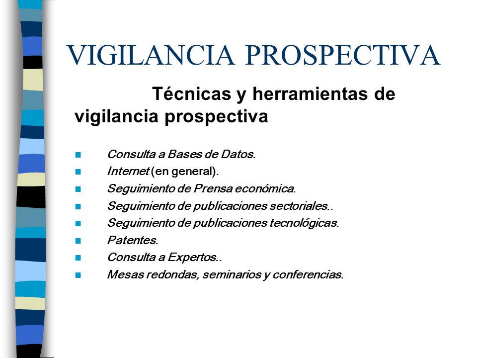 VIGILANCIA PROSPECTIVA Técnicas y herramientas de vigilancia prospectiva Consulta a Bases de Datos. Internet (en general). Seguimiento de Prensa econó