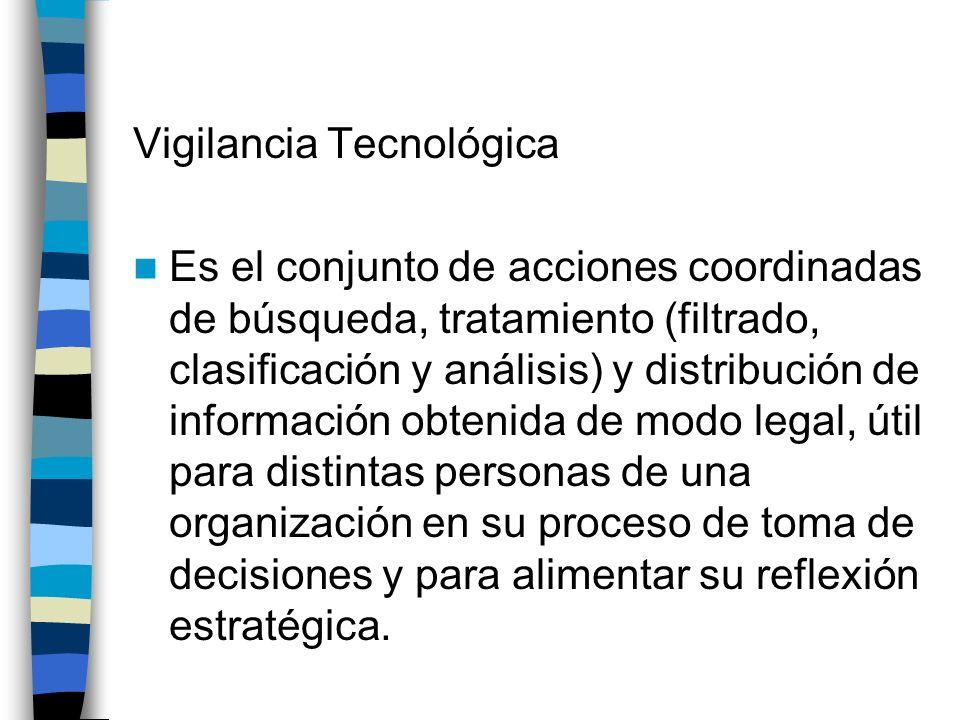 Vigilancia Tecnológica Es el conjunto de acciones coordinadas de búsqueda, tratamiento (filtrado, clasificación y análisis) y distribución de informac