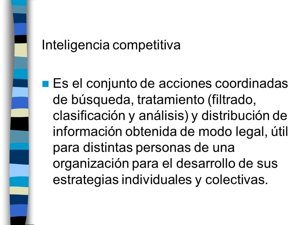 Inteligencia competitiva Es el conjunto de acciones coordinadas de búsqueda, tratamiento (filtrado, clasificación y análisis) y distribución de inform