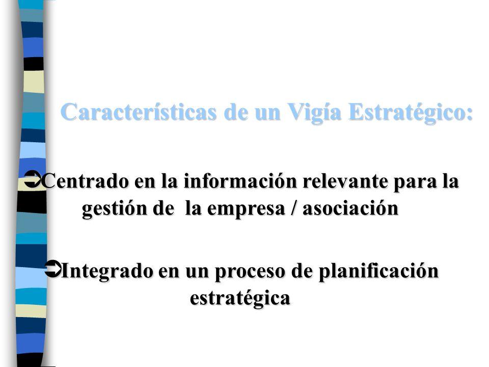 Características de un Vigía Estratégico: Ü Integrado en un proceso de planificación estratégica Ü Centrado en la información relevante para la gestión