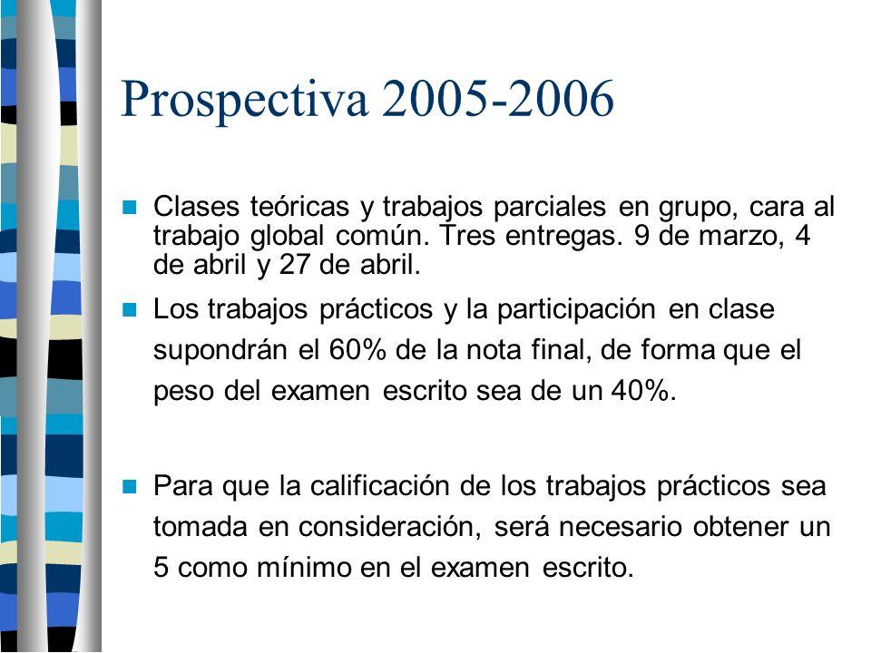 Prospectiva 2005-2006 Clases teóricas y trabajos parciales en grupo, cara al trabajo global común.