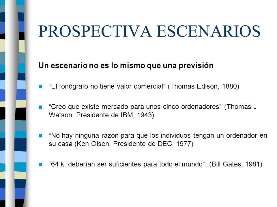 PROSPECTIVA ESCENARIOS Un escenario no es lo mismo que una previsión El fonógrafo no tiene valor comercial (Thomas Edison, 1880) Creo que existe mercado para unos cinco ordenadores (Thomas J Watson.