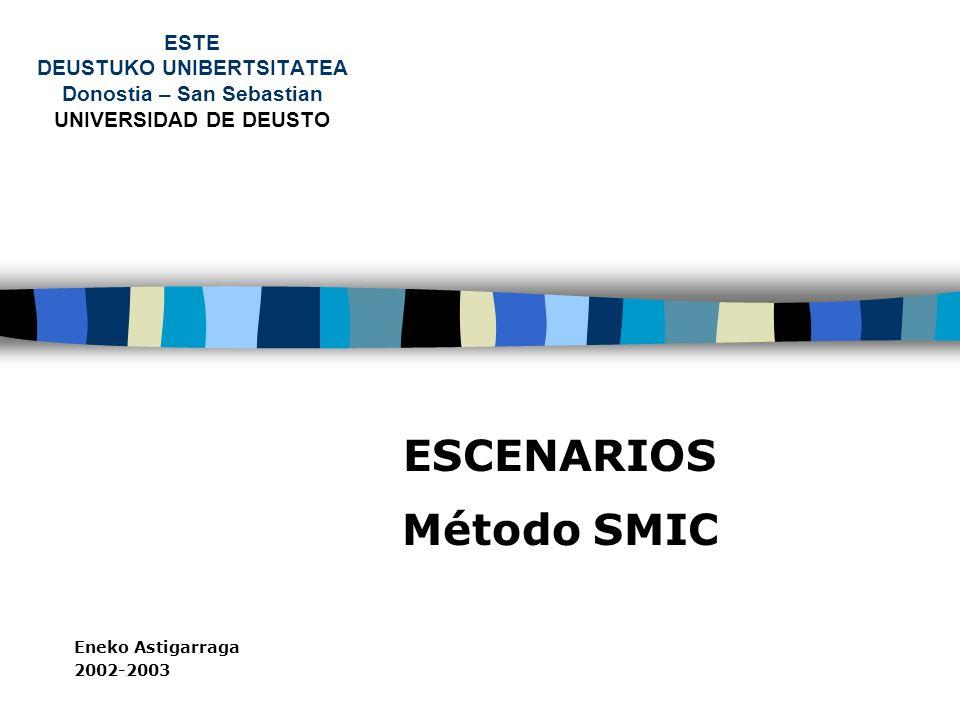 ESTE DEUSTUKO UNIBERTSITATEA Donostia – San Sebastian UNIVERSIDAD DE DEUSTO ESCENARIOS Método SMIC Eneko Astigarraga 2002-2003
