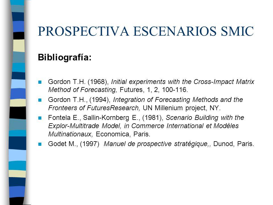 PROSPECTIVA ESCENARIOS SMIC Bibliografía: Gordon T.H. (1968), Initial experiments with the Cross-Impact Matrix Method of Forecasting, Futures, 1, 2, 1