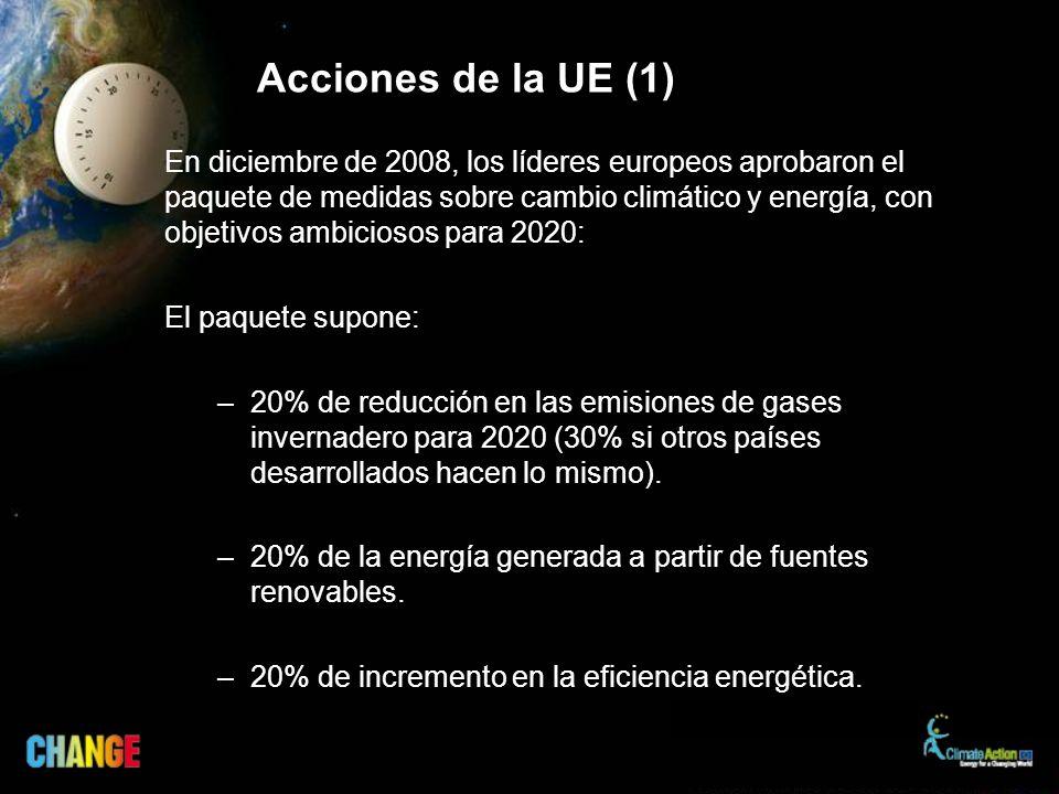 En diciembre de 2008, los líderes europeos aprobaron el paquete de medidas sobre cambio climático y energía, con objetivos ambiciosos para 2020: El paquete supone: –20% de reducción en las emisiones de gases invernadero para 2020 (30% si otros países desarrollados hacen lo mismo).