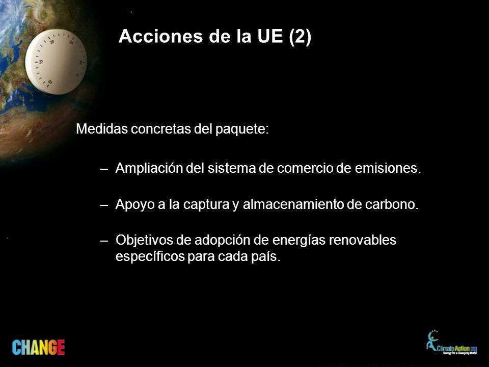 Acciones de la UE (2) Medidas concretas del paquete: –Ampliación del sistema de comercio de emisiones.