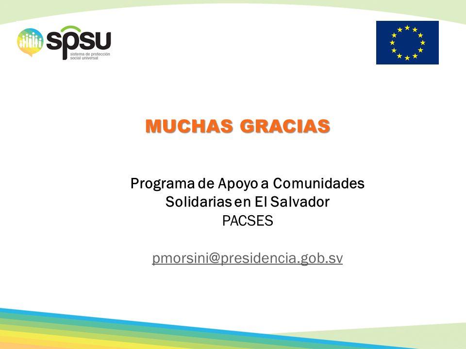 MUCHAS GRACIAS Programa de Apoyo a Comunidades Solidarias en El Salvador PACSES pmorsini@presidencia.gob.sv