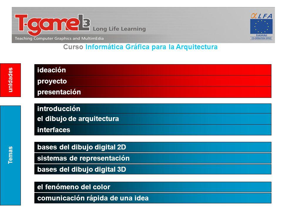 Curso Informática Gráfica para la Arquitectura ideación proyecto introducción el dibujo de arquitectura interfaces bases del dibujo digital 2D present