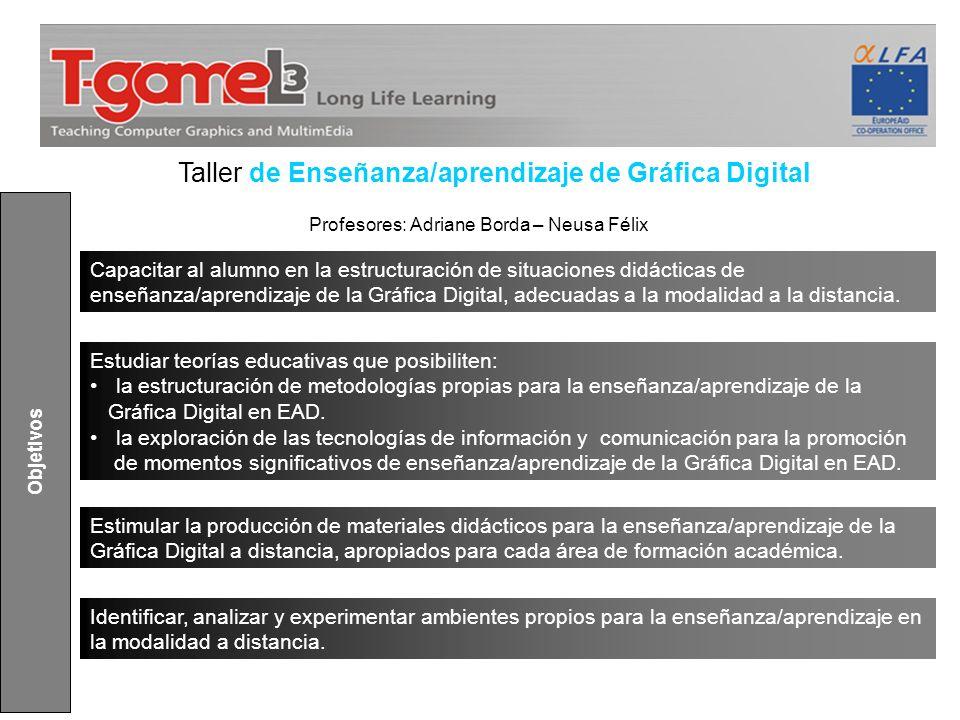 Estimular la producción de materiales didácticos para la enseñanza/aprendizaje de la Gráfica Digital a distancia, apropiados para cada área de formaci