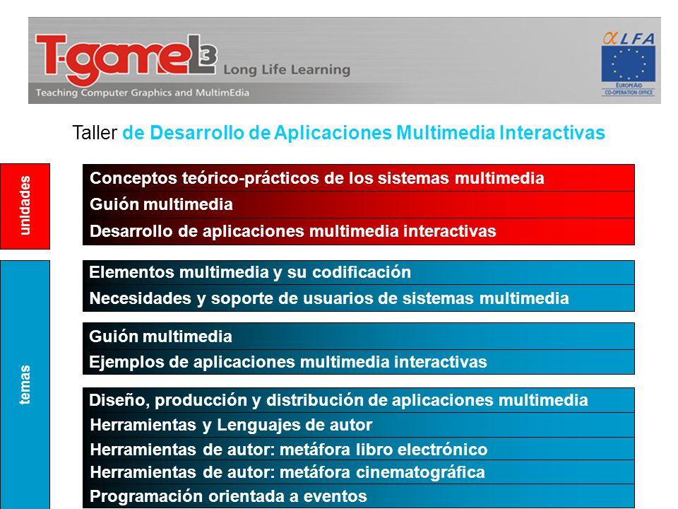Taller de Desarrollo de Aplicaciones Multimedia Interactivas Conceptos teórico-prácticos de los sistemas multimedia Guión multimedia Elementos multime
