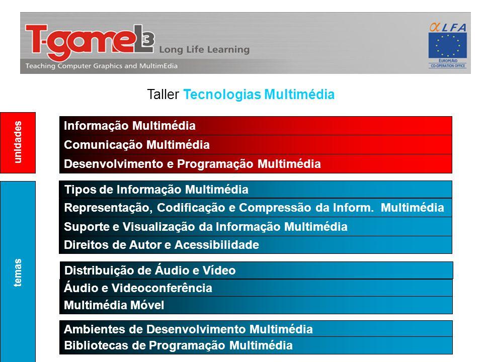 Taller Tecnologias Multimédia Informação Multimédia Comunicação Multimédia Tipos de Informação Multimédia Representação, Codificação e Compressão da I