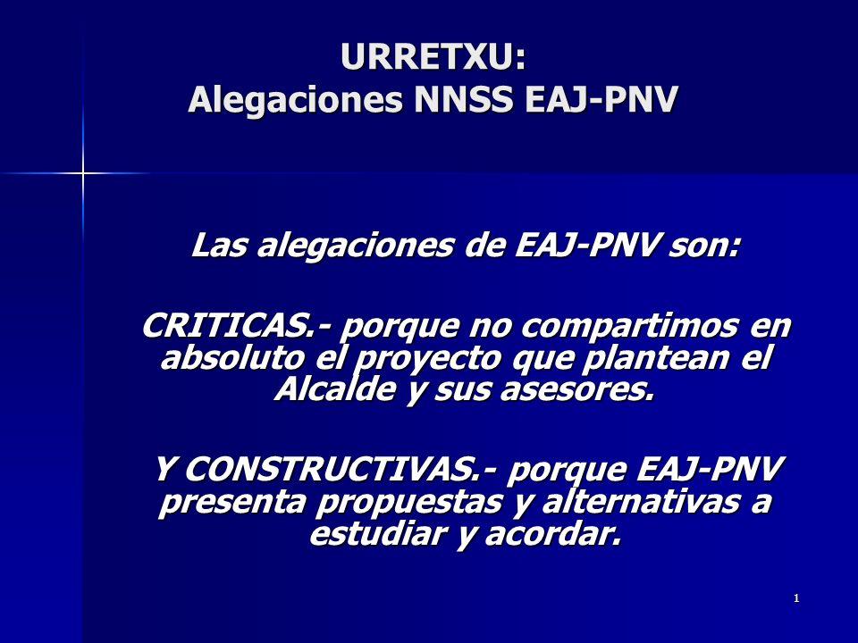 1 URRETXU: Alegaciones NNSS EAJ-PNV Las alegaciones de EAJ-PNV son: CRITICAS.- porque no compartimos en absoluto el proyecto que plantean el Alcalde y sus asesores.