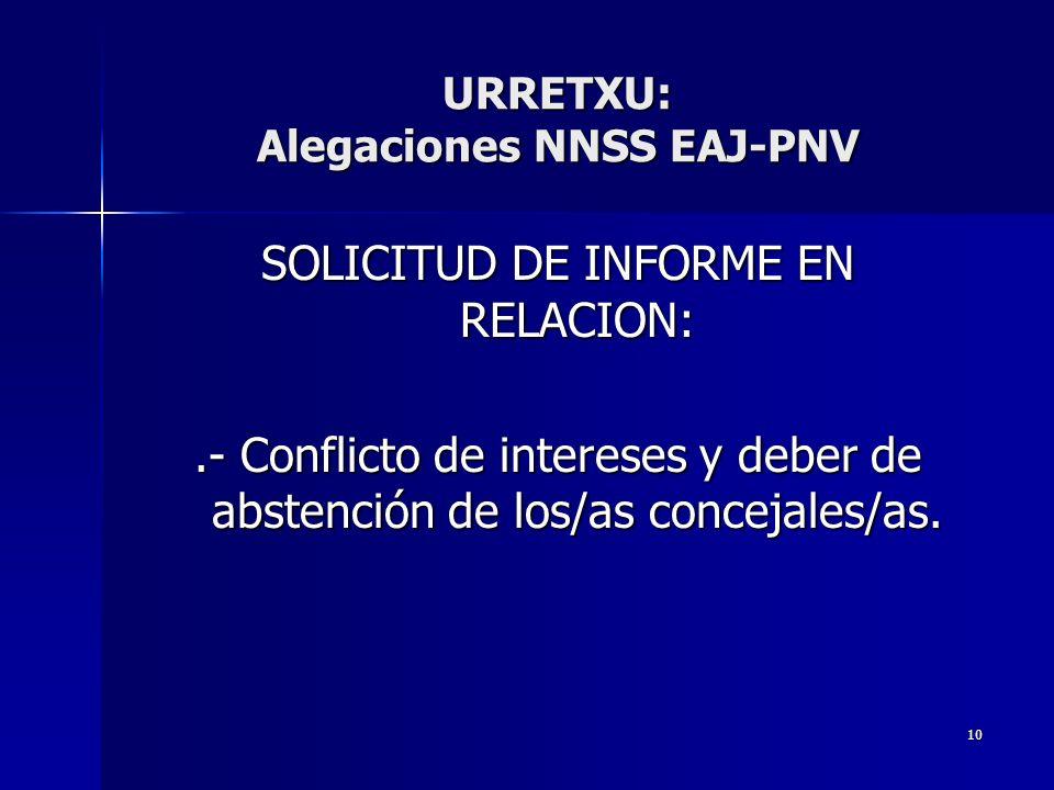 10 SOLICITUD DE INFORME EN RELACION:.- Conflicto de intereses y deber de abstención de los/as concejales/as. URRETXU: Alegaciones NNSS EAJ-PNV