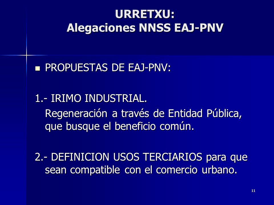 11 URRETXU: Alegaciones NNSS EAJ-PNV PROPUESTAS DE EAJ-PNV: PROPUESTAS DE EAJ-PNV: 1.- IRIMO INDUSTRIAL. Regeneración a través de Entidad Pública, que