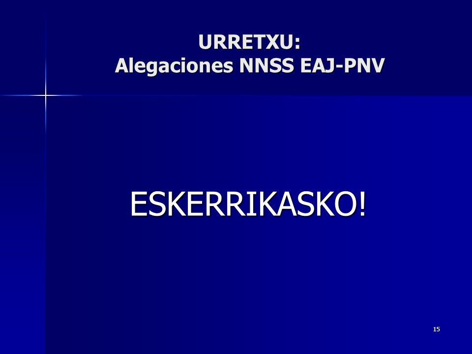 15 ESKERRIKASKO! URRETXU: Alegaciones NNSS EAJ-PNV