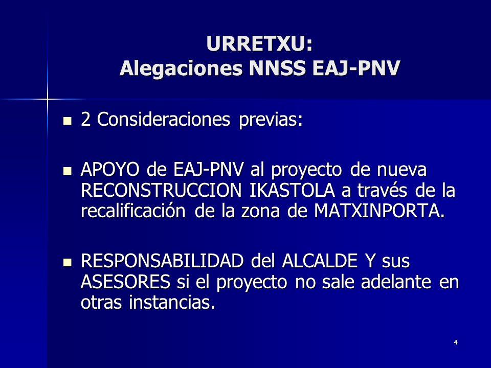 4 2 Consideraciones previas: 2 Consideraciones previas: APOYO de EAJ-PNV al proyecto de nueva RECONSTRUCCION IKASTOLA a través de la recalificación de la zona de MATXINPORTA.