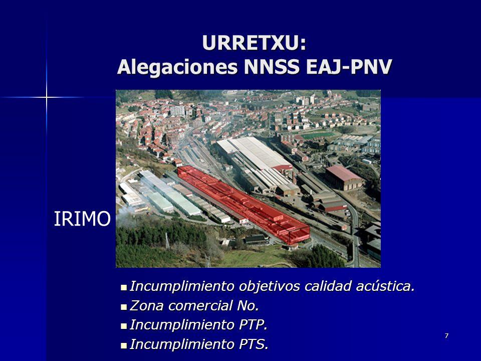 7 URRETXU: Alegaciones NNSS EAJ-PNV Incumplimiento objetivos calidad acústica.