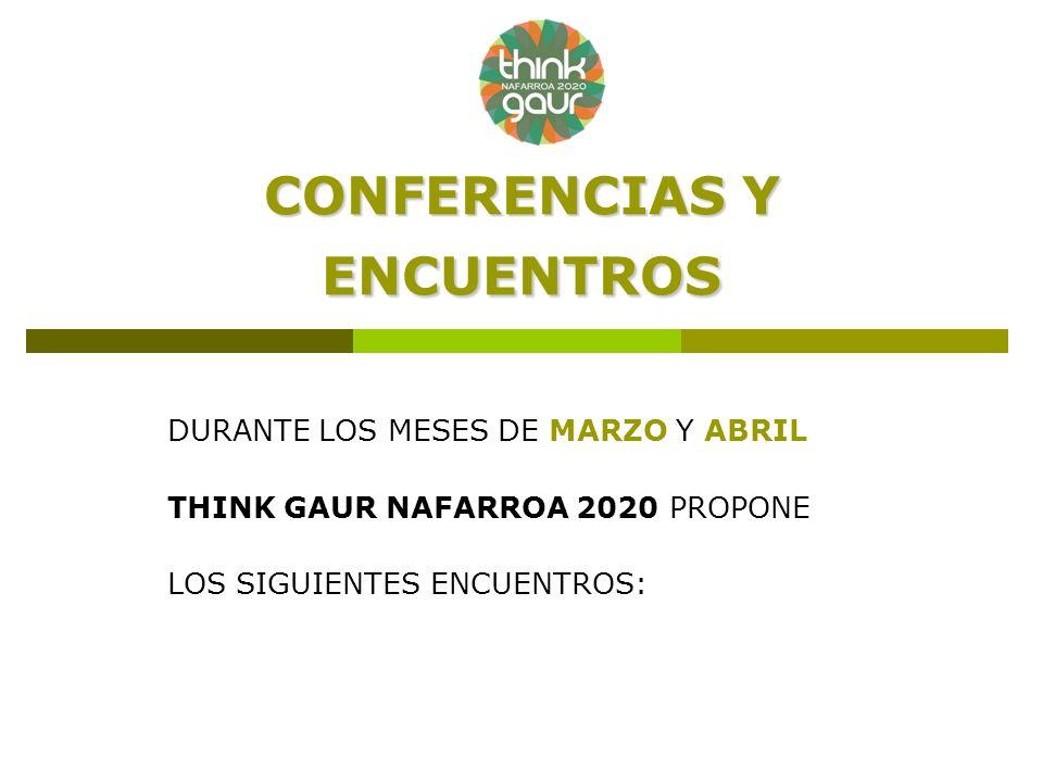 CONFERENCIAS Y ENCUENTROS DURANTE LOS MESES DE MARZO Y ABRIL THINK GAUR NAFARROA 2020 PROPONE LOS SIGUIENTES ENCUENTROS: