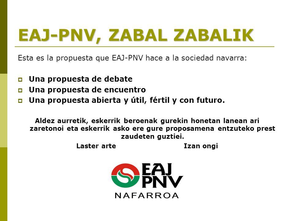 EAJ-PNV, ZABAL ZABALIK Esta es la propuesta que EAJ-PNV hace a la sociedad navarra: Una propuesta de debate Una propuesta de encuentro Una propuesta abierta y útil, fértil y con futuro.