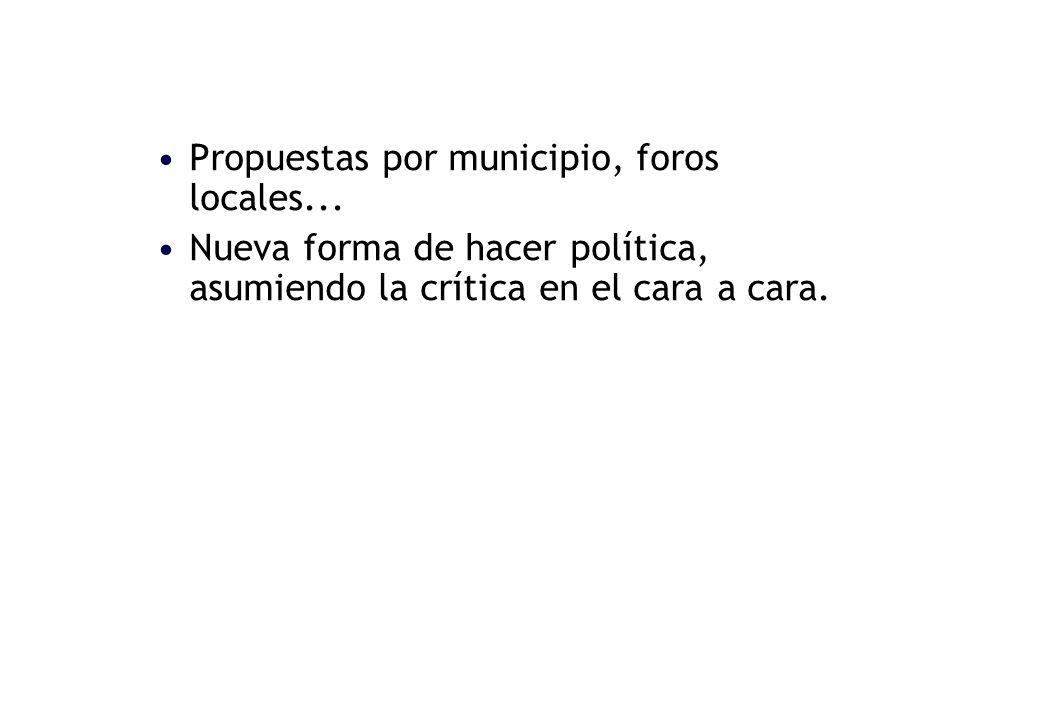 Propuestas por municipio, foros locales...