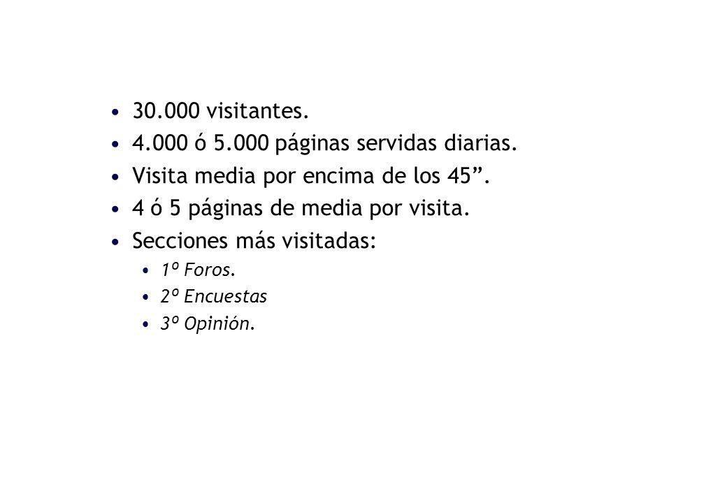 30.000 visitantes. 4.000 ó 5.000 páginas servidas diarias.