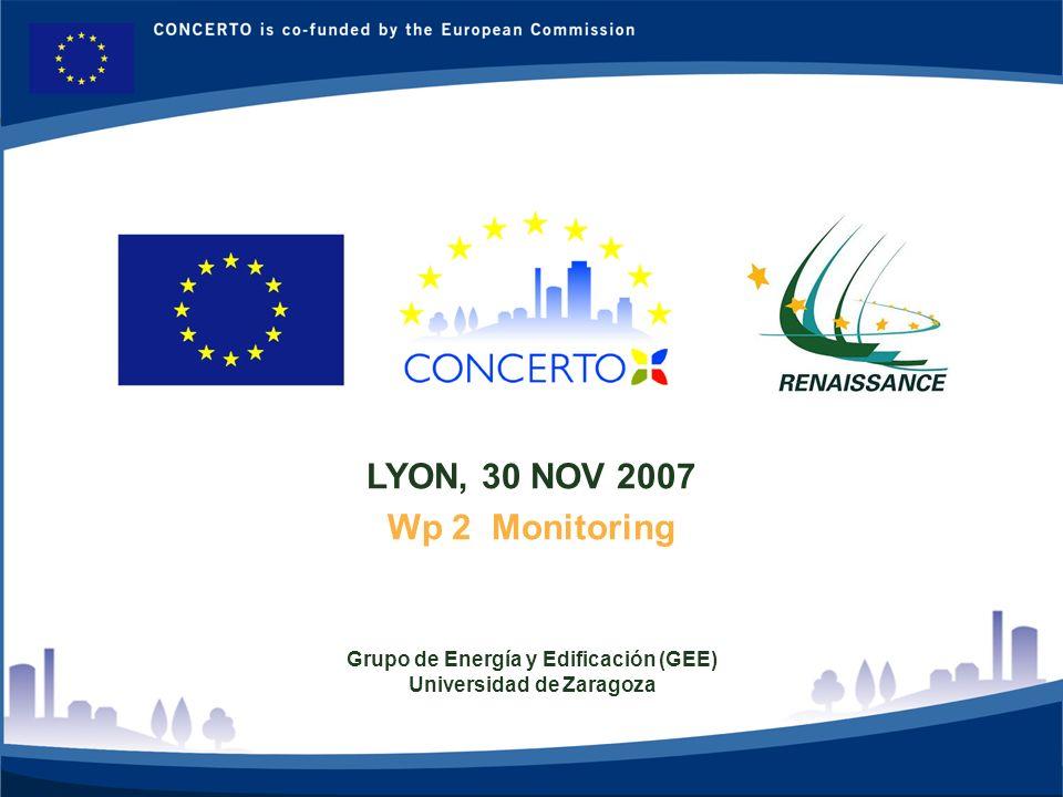 RENAISSANCE es un proyecto del programa CONCERTO co-financiado por la Comisión Europea dentro del Sexto Programa Marco RENAISSANCE - ZARAGOZA - SPAIN 1 LYON, 30 NOV 2007 Wp 2 Monitoring Grupo de Energía y Edificación (GEE) Universidad de Zaragoza