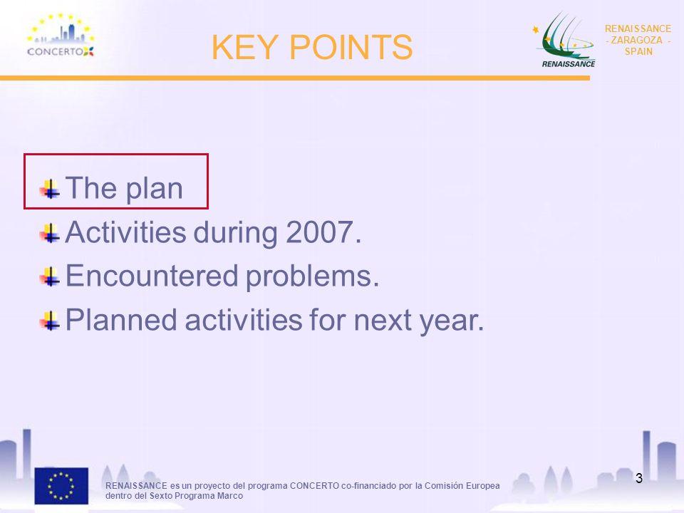 RENAISSANCE es un proyecto del programa CONCERTO co-financiado por la Comisión Europea dentro del Sexto Programa Marco RENAISSANCE - ZARAGOZA - SPAIN 3 KEY POINTS The plan Activities during 2007.