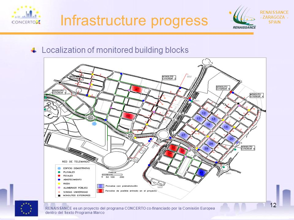 RENAISSANCE es un proyecto del programa CONCERTO co-financiado por la Comisión Europea dentro del Sexto Programa Marco RENAISSANCE - ZARAGOZA - SPAIN 12 Infrastructure progress Localization of monitored building blocks