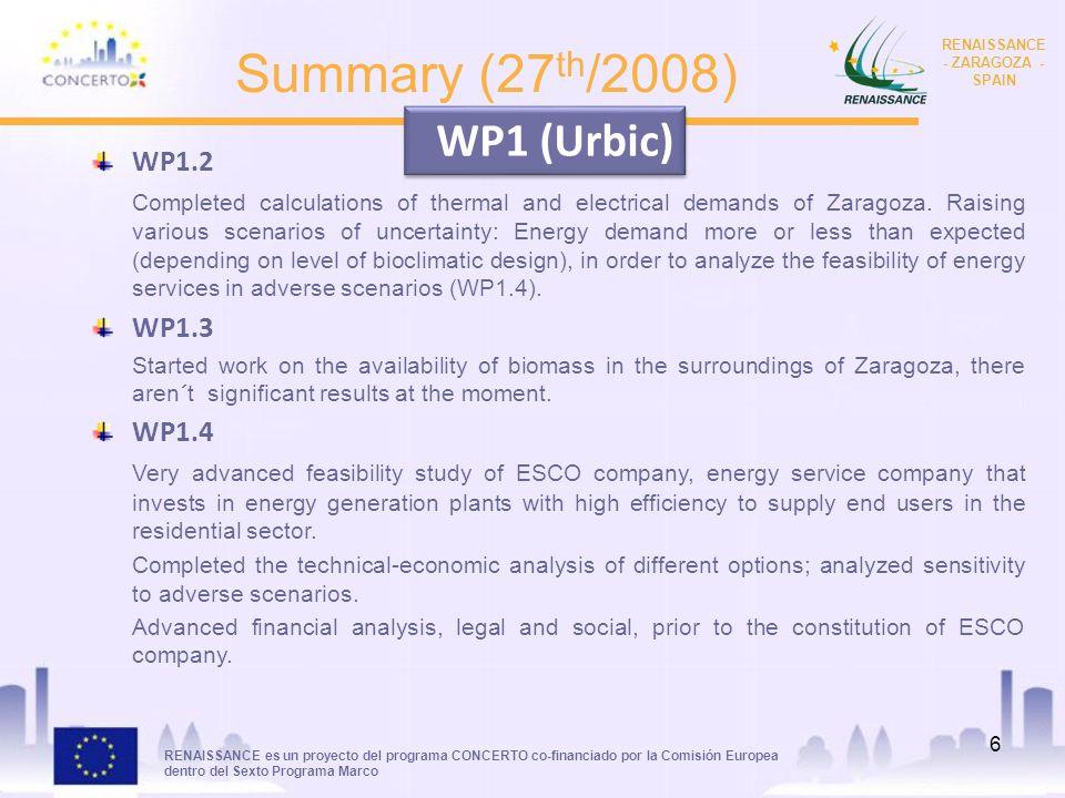 RENAISSANCE es un proyecto del programa CONCERTO co-financiado por la Comisión Europea dentro del Sexto Programa Marco RENAISSANCE - ZARAGOZA - SPAIN 6 Summary (27 th /2008) WP1.2 Completed calculations of thermal and electrical demands of Zaragoza.